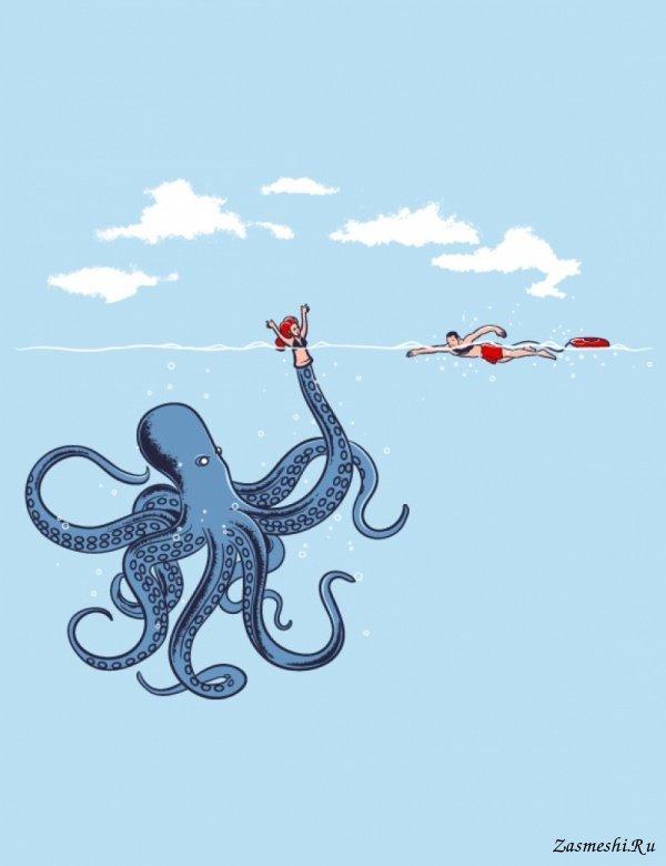 Картинки по запросу осьминог карикатура